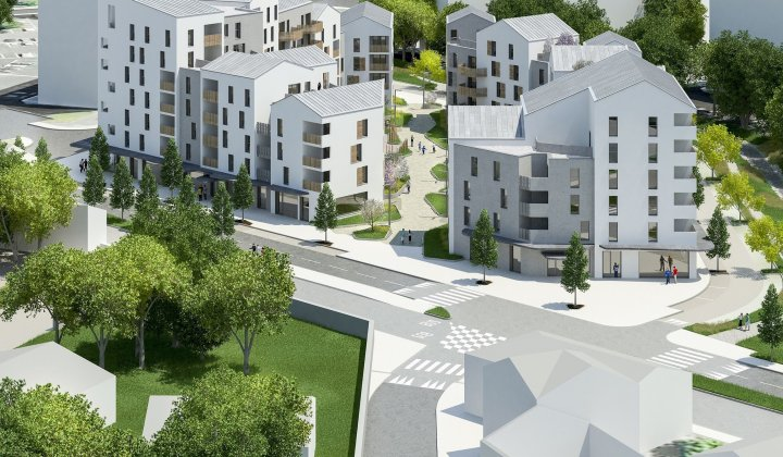 Development of the Bovéro square in Anglet (64), which comprises the construction of 132 housing units, a student residence and shops in the ground floor.